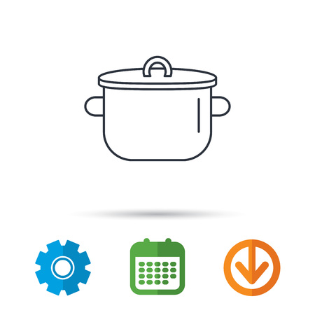 Pan icon. Cooking pot sign. Kitchen tool symbol. Calendar, cogwheel and download arrow signs. Colored flat web icons. Vector Illustration