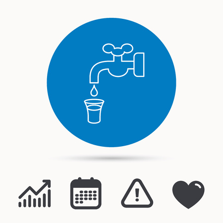 waterworks: Save water icon. Crane or Faucet with drop sign. Calendar, attention sign and growth chart. Button with web icon. Vector