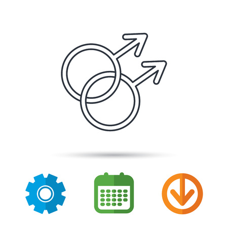 Gay couple icon. Homosexual sign. Calendar, cogwheel and download arrow signs. Colored flat web icons. Vector
