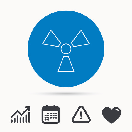 Radiation icon. Radiology sign. Calendar, attention sign and growth chart. Button with web icon. Vector Illustration