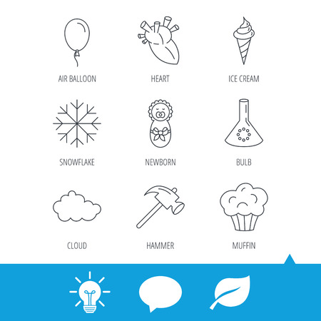 Newborn, heart and lab bulb icons. Ice cream, muffin and air balloon linear signs. Cloud and snowflake flat line icons. Light bulb, speech bubble and leaf web icons. Vector