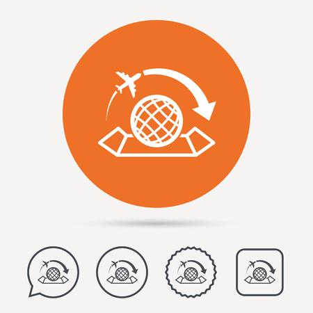 Icono de mapa mundial globo con signo de avin smbolo de viaje en world map icon globe with arrow sign plane travel symbol circle speech gumiabroncs Choice Image