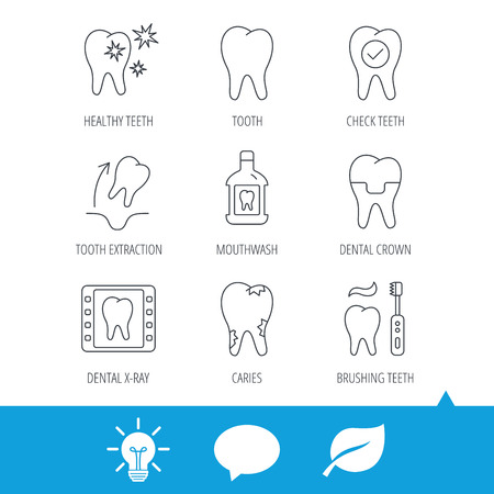 Tooth, dental crown and mouthwash icons. Caries, tooth extraction and hygiene linear signs. Brushing teeth flat line icon. Light bulb, speech bubble and leaf web icons. Vector