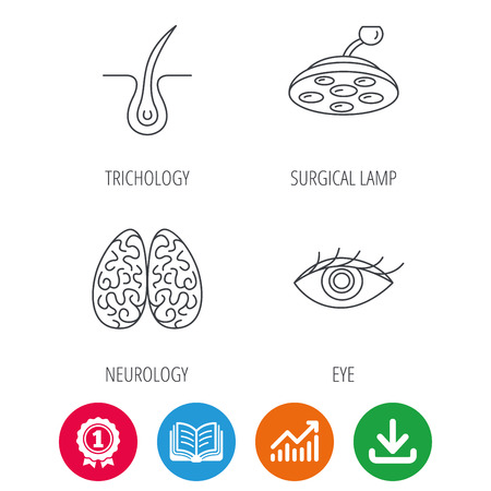 opened eye: Eye, neurology brain and surgical lamp icons. Trichology linear sign. Award medal, growth chart and opened book web icons. Download arrow. Vector