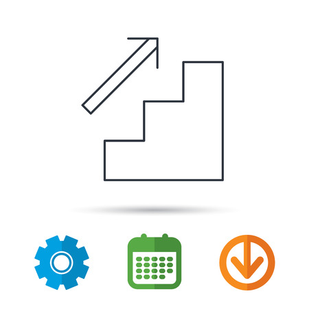 upstairs: Upstairs icon. Direction arrow sign. Calendar, cogwheel and download arrow signs. Colored flat web icons. Vector Illustration