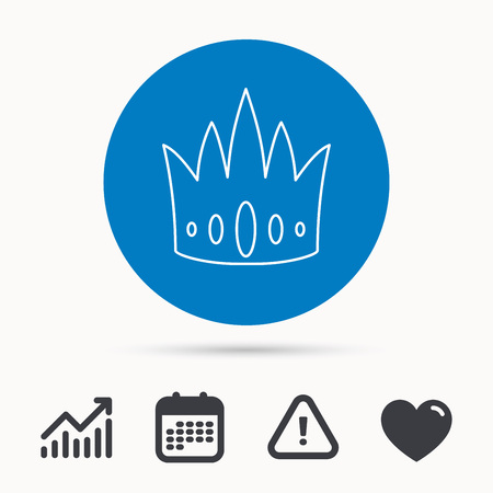 Crown icon. Royal king hat sign. VIP symbol. Calendar, attention sign and growth chart. Button with web icon. Vector Illustration