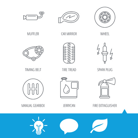 Wheel, car mirror and timing belt icons. Fire extinguisher, jerrycan and manual gearbox linear signs. Muffler, spark plug icons. Light bulb, speech bubble and leaf web icons. Vector Illustration