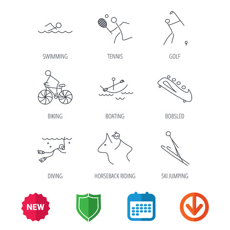 Swimming, tennis and golf icons. Biking, diving and horseback riding linear signs. Ski jumping, boating and bobsleigh icons. New tag, shield and calendar web icons. Download arrow. Vector