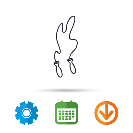 Skipping rope icon. Jumping sport tool sign. Cardio fitness symbol. Calendar, cogwheel and download arrow signs. Colored flat web icons. Vector Illustration