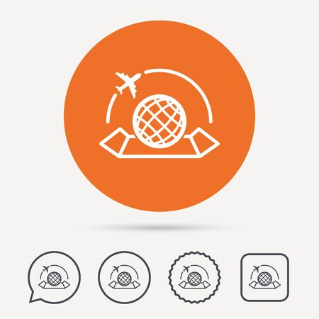 travel star: World map icon. Globe with airplane sign. Plane travel symbol. Circle, speech bubble and star buttons. Flat web icons. Vector