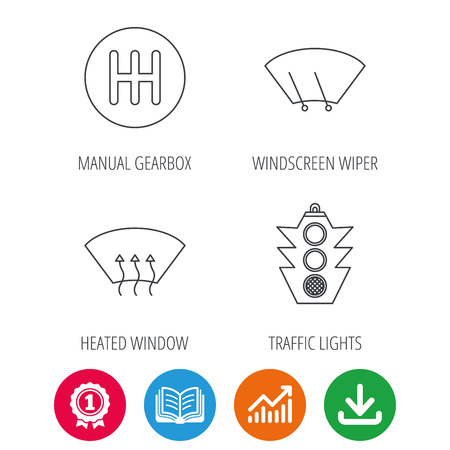 Traffic lights, manual gearbox and wiper icons. Heated window, manual transmission linear signs. Washing window icon. Award medal, growth chart and opened book web icons. Download arrow. Vector Illustration