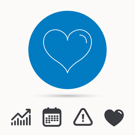 Love heart icon. Life sign. Calendar, attention sign and growth chart. Button with web icon. Vector Illustration