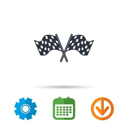 Crosswise racing flags icon. Finishing symbol. Calendar, cogwheel and download arrow signs. Colored flat web icons. Vector