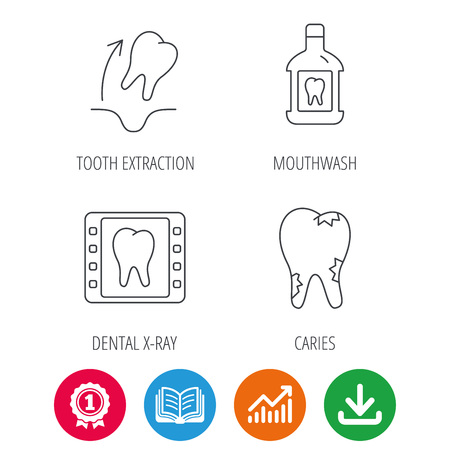 Tooth extraction, caries and mouthwash icons. Dental x-ray linear sign. Award medal, growth chart and opened book web icons. Download arrow. Vector