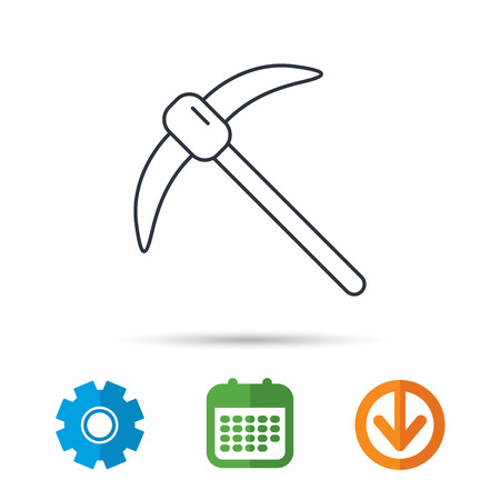 Mining tool icon. Pickaxe equipment sign. Minerals industry symbol. Calendar, cogwheel and download arrow signs. Colored flat web icons. Vector Illustration