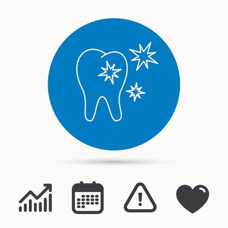 Healthy tooth icon. Dental protection sign. Calendar, attention sign and growth chart. Button with web icon. Vector