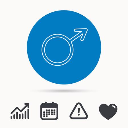 Mannelijk pictogram. Heren seksualiteit teken. Kalender, aandachtsteken en groeimeter. Knop met web pictogram. Vector