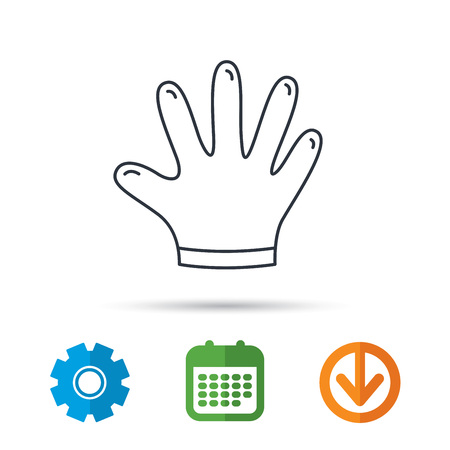 kitchen cleaning: Rubber gloves icon. Latex hand protection sign. Housework cleaning equipment symbol. Calendar, cogwheel and download arrow signs. Colored flat web icons. Vector Illustration