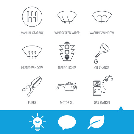Motor oil change, traffic lights and pliers icons. Gas station, heated window and manual gearbox linear signs. Washing window icons. Light bulb, speech bubble and leaf web icons. Vector Illustration