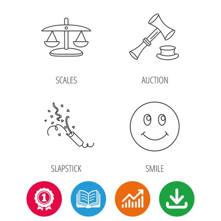 shah: Scales of justice, auction hammer and slapstick icons. Smiling face linear sign. Award medal, growth chart and opened book web icons. Download arrow. Vector Illustration