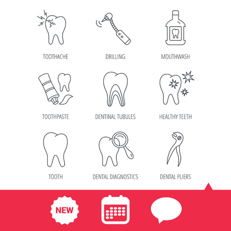 Tooth, stomatology and toothache icons. Mouthwash, dental pliers and diagnostics linear signs. Dentinal tubules, drilling icons. New tag, speech bubble and calendar web icons. Vector