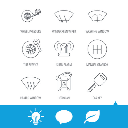 Manual gearbox, tire service and car key icons. Siren alarm, jerrycan and wheel pressure linear signs. Window washing, wiper and heated icons. Light bulb, speech bubble and leaf web icons. Vector