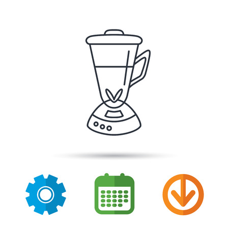 Mixer icon. Blender sign. Kitchen electric tool symbol. Calendar, cogwheel and download arrow signs. Colored flat web icons. Vector