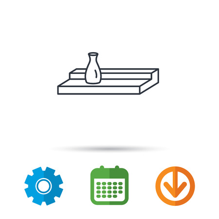 Wall shelf icon. Bookshelf with vase sign. Calendar, cogwheel and download arrow signs. Colored flat web icons. Vector