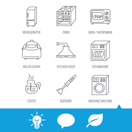 Microwave oven, washing machine and blender icons. Refrigerator fridge, dishwasher and multicooker linear signs. Coffee icon. Light bulb, speech bubble and leaf web icons. Vector Illustration