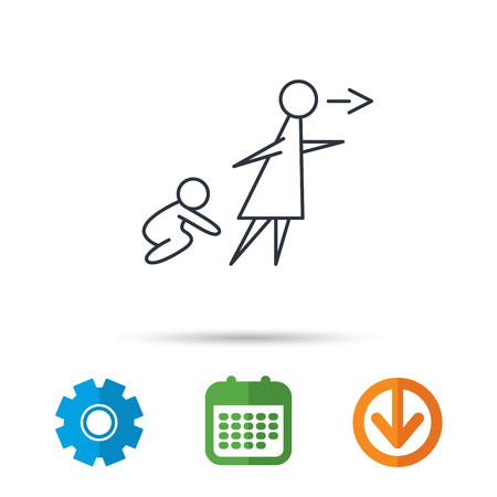 Unattended baby icon. Babysitting care sign. Do not leave your child alone symbol. Calendar, cogwheel and download arrow signs. Colored flat web icons. Vector Illustration