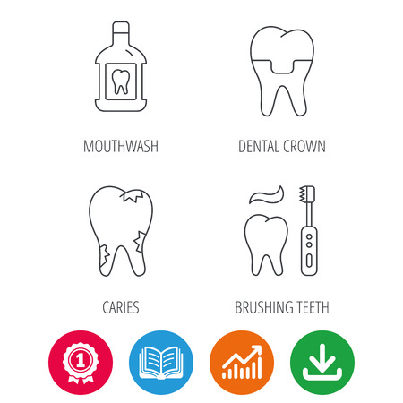 Caries, dental crown and mouthwash icons. Brushing teeth linear sign. Award medal, growth chart and opened book web icons. Download arrow. Vector Illustration