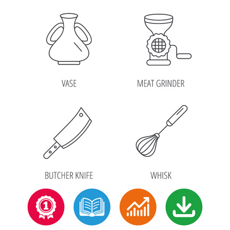 Meat grinder, butcher knife and whisk icons. Vase linear sign. Award medal, growth chart and opened book web icons. Download arrow. Vector