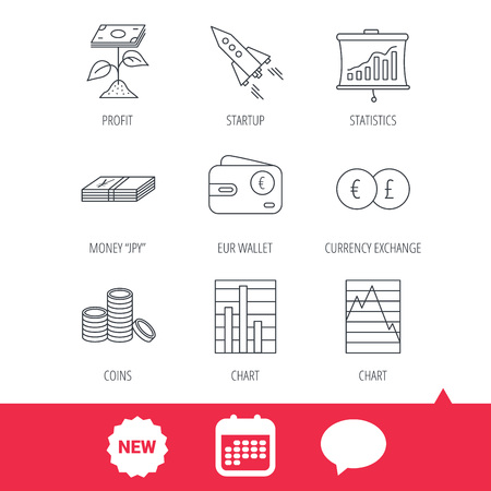 deceleration: Profit investment, cash money and startup rocket icons. Wallet, currency exchange and euro linear signs. Chart, coins and statistics icons. New tag, speech bubble and calendar web icons. Vector