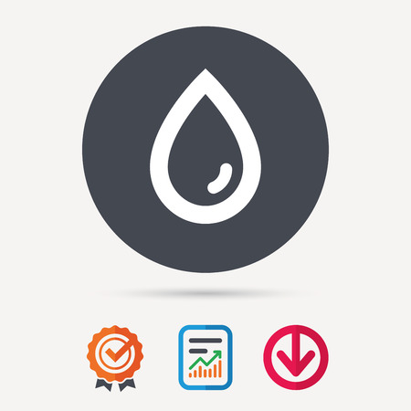 weather report: Water drop icon. Natural aqua symbol. Report document, award medal with tick and new tag signs. Colored flat web icons. Vector Illustration