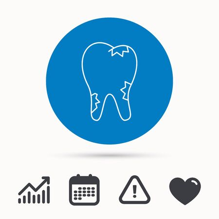 Caries icon. Tooth health sign. Calendar, attention sign and growth chart. Button with web icon. Vector Illustration