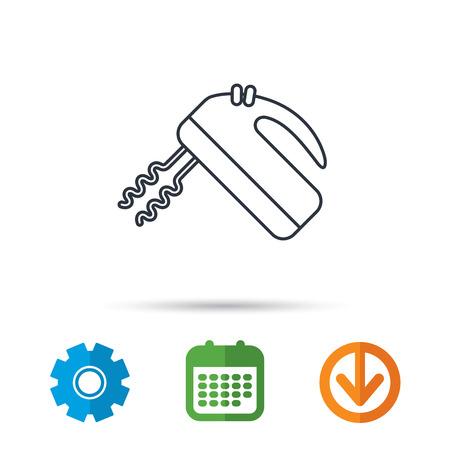 stirrer: Blender icon. Mixer sign. Calendar, cogwheel and download arrow signs.
