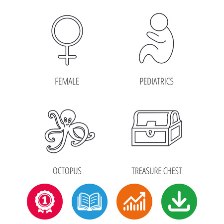 toy chest: Female, treasure chest and pediatrics icons. Octopus linear sign. Award medal, growth chart and opened book web icons. Download arrow. Vector