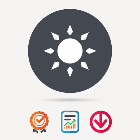 weather report: Sun icon. Sunny weather symbol. Report document, award medal with tick and new tag signs. Colored flat web icons. Vector Illustration