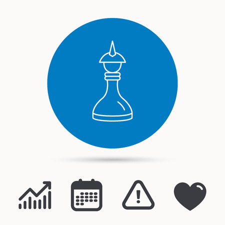 Strategy icon. Chess queen or king sign. Mind game symbol. Calendar, attention sign and growth chart. Button with web icon. Vector