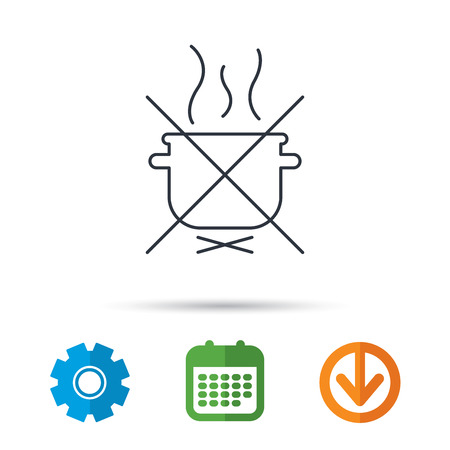 do cooking: Boiling saucepan icon. Do not boil water sign. Cooking manual attenction symbol. Calendar, cogwheel and download arrow signs. Colored flat web icons. Vector Illustration