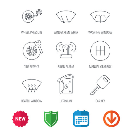 Manual gearbox, tire service and car key icons. Siren alarm, jerrycan and wheel pressure linear signs. Window washing, wiper and heated icons. New tag, shield and calendar web icons. Download arrow Illustration