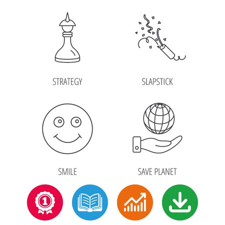 shah: Save planet, slapstick and strategy icons. Smile linear sign. Award medal, growth chart and opened book web icons. Download arrow. Vector