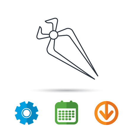 Nippers icon. Repairing service tool sign. Calendar, cogwheel and download arrow signs. Colored flat web icons. Vector
