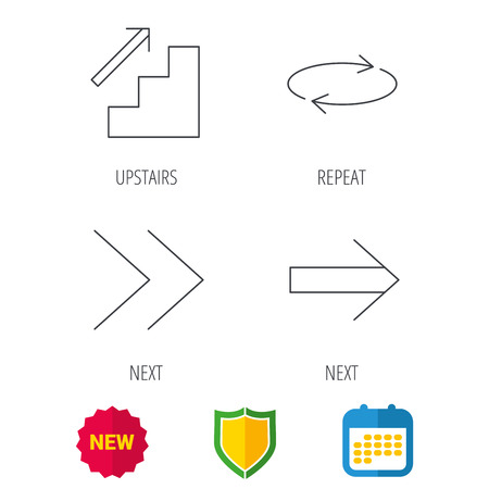 upstairs: Arrows icons. Upstairs, next and repeat linear signs. Next arrow flat line icons. Shield protection, calendar and new tag web icons. Vector Illustration