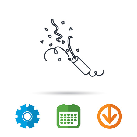 Shooting slapstick icon. Celebration sign. Calendar, cogwheel and download arrow signs. Colored flat web icons. Vector Illustration