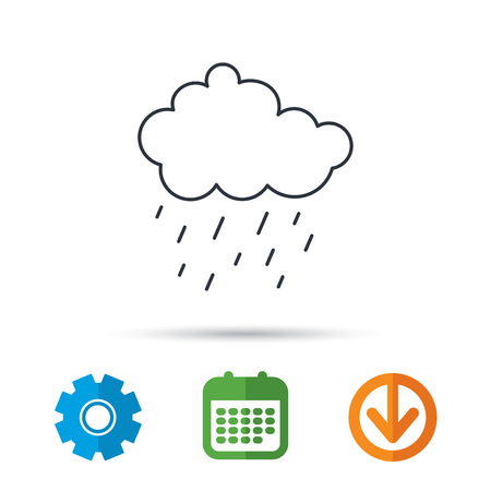 Rain icon. Water drops and cloud sign. Rainy overcast day symbol. Calendar, cogwheel and download arrow signs. Colored flat web icons. Vector Illustration