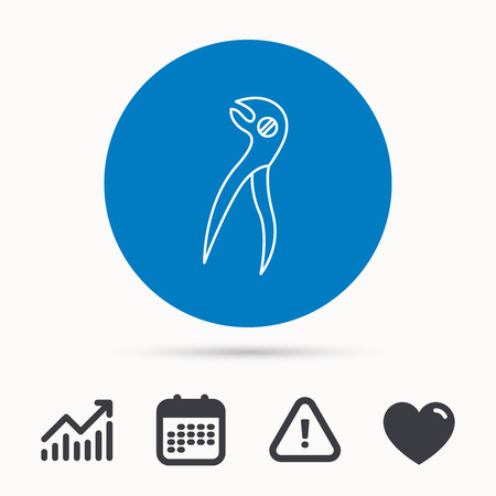 premolar: Dental pliers icon. Stomatological forceps tool sign. Calendar, attention sign and growth chart. Button with web icon. Vector