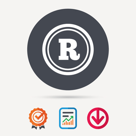 Registered trademark icon. Intellectual work protection symbol. Report document, award medal with tick and new tag signs. Colored flat web icons. Vector