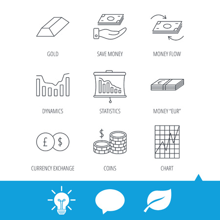 deceleration: Banking, cash money and statistics icons. Money flow, gold bar and dollar usd linear signs. Dynamics chart, coins and savings icons. Light bulb, speech bubble and leaf web icons. Vector Illustration