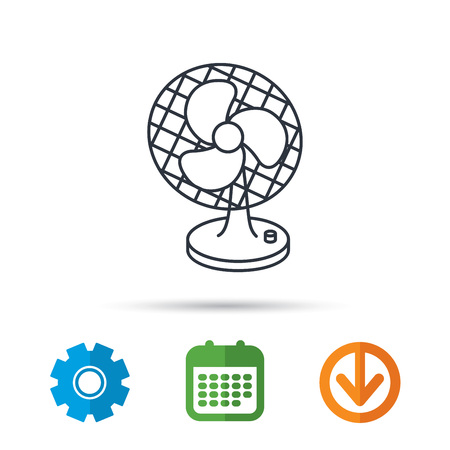 Ventilator icon. Fan or propeller sign. Calendar, cogwheel and download arrow signs. Colored flat web icons. Vector